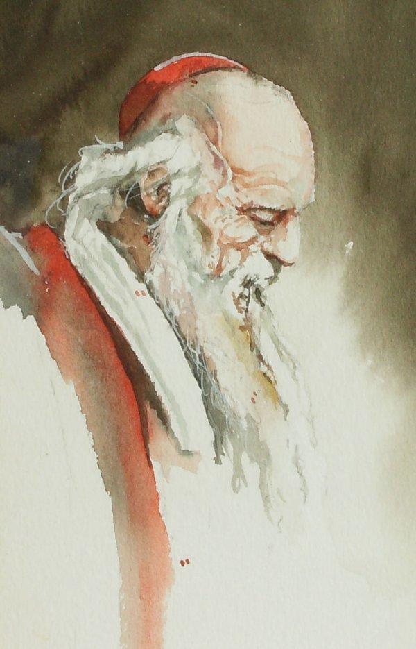 16: Larry Greer-Portrait-Watercolor (20th Cent)