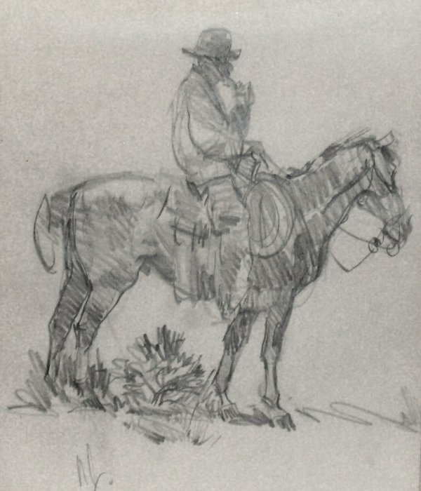 20: Ned Jacob-Cowboy-Pencil (Amer b.1938)