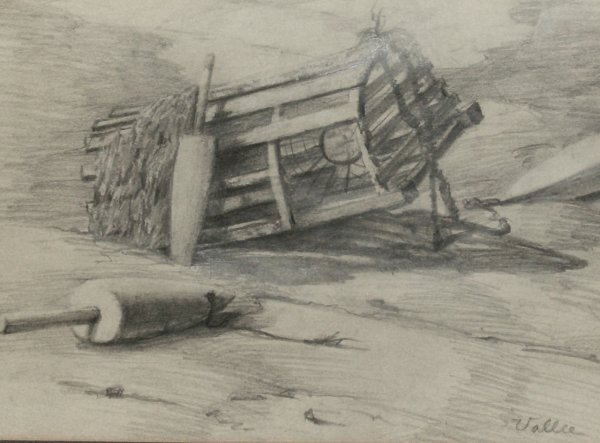 21: Jack Vallee - Lobster Trap - Pencil Drawing