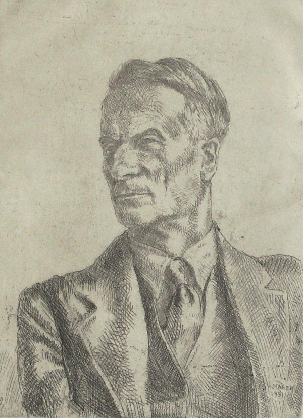 25: Reginald Marsh-Portrait-Etching (Amer 1898-1954)