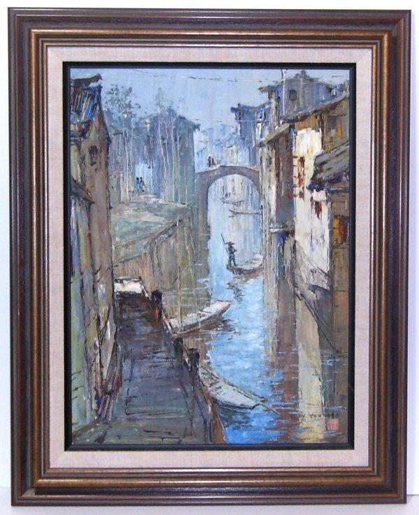 4: KW You-Venice Scene-Oil on Canvas (20th Cent)