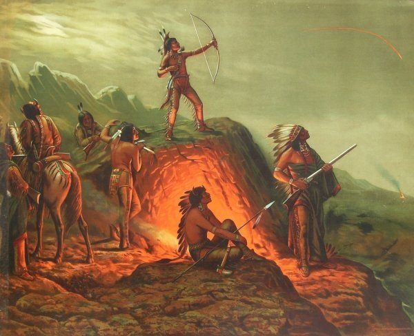 42: ADM Cooper-Burning Arrow-Stone Litho (1856-1924)