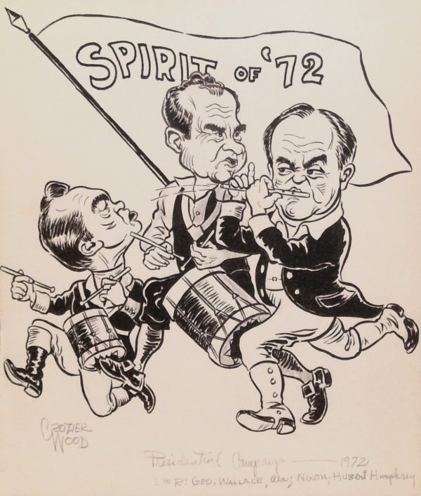 57: Crozier Wood-Presidential Campaign '72-Ink on Paper