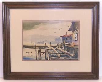 128: Robert Landry-Harbor-Watercolor (Amer 20th Cent)