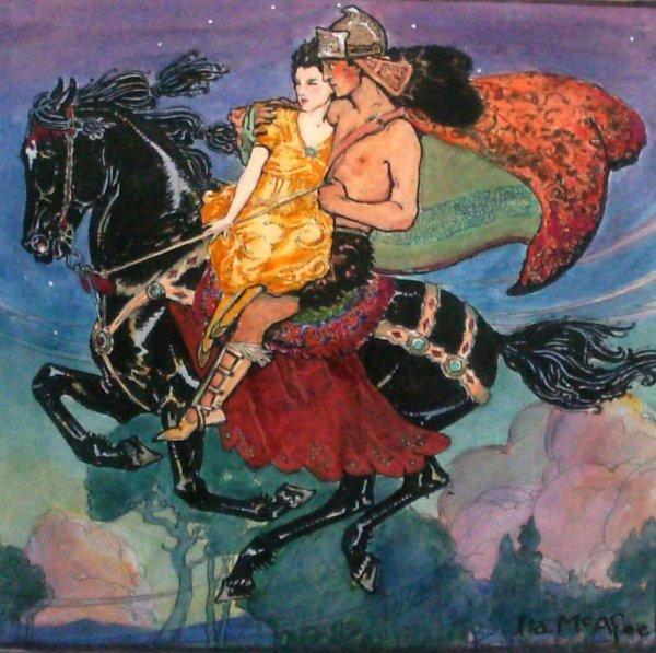 1004: Ila McAfee - Lovers on Horseback-Mixed Media (189