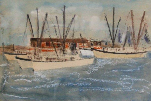 1012: Harold Cohn - Boats in Ft. Meyers-Watercolor (b.1