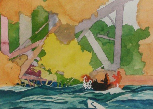 1017: Milton R Kinder - Watercolor-Fishing Waters (b.19