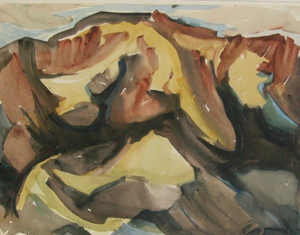 1018: Alice Fleming - Mountains-Watercolor (1901-1991)