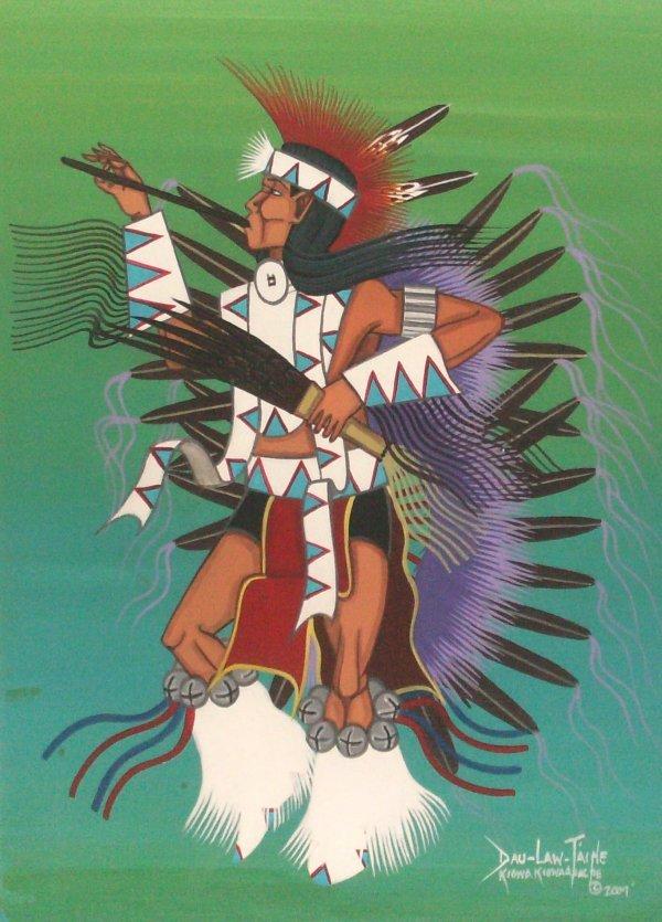 1: Dau Law Taine - War Dancer - Tempera (Kiowa 20th C)