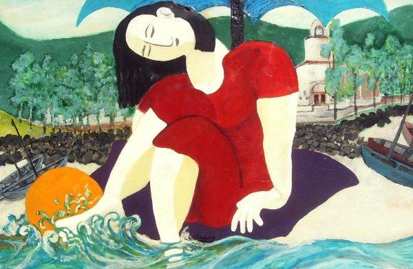 7: Frank Cissne - Sunbather in Mexico - Acrylic (20th C