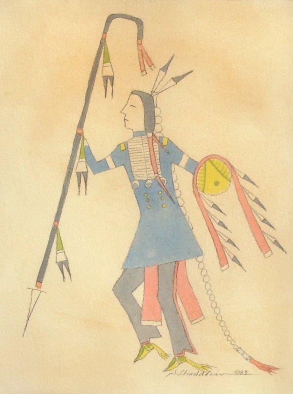8: Sherman Chaddlesone - War Dancer - Watercolor (Kiowa