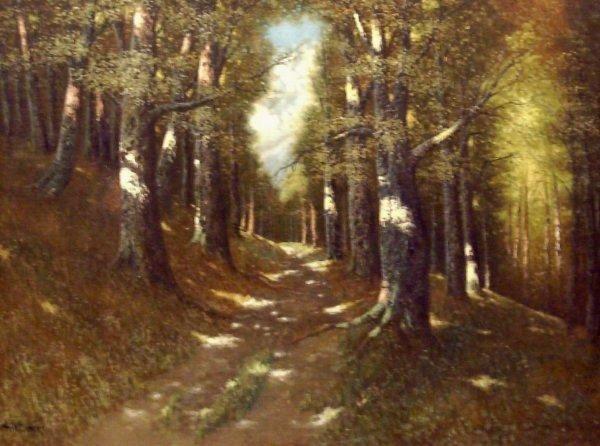 12: F. Hollerer - Forest Scene - Oil (20th Cent)