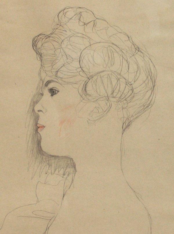 16: Gustav Klimt - Stone Lithograph - Female Sketch