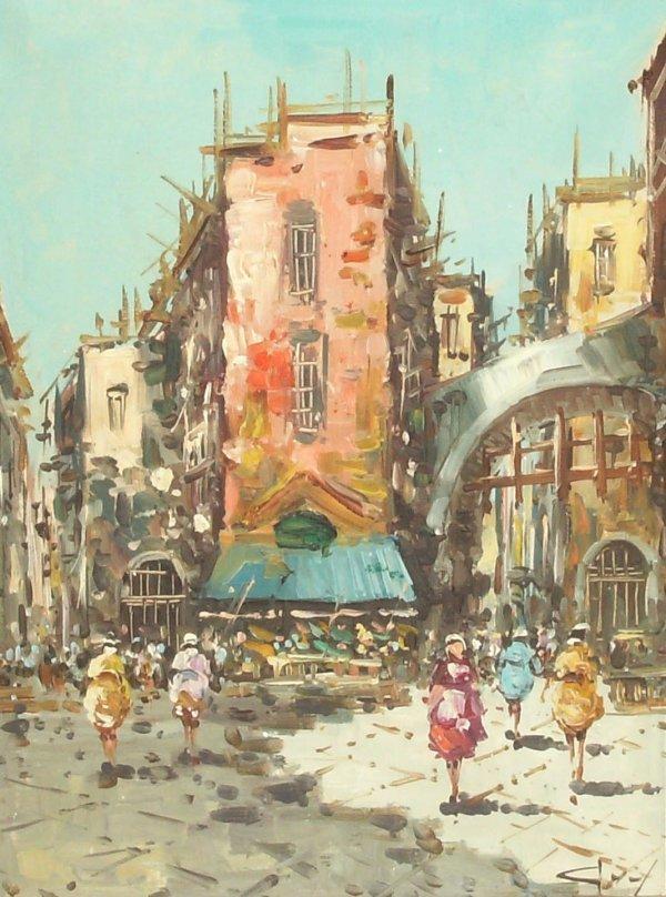 21: Italy Street Scene - Oil (20th C.)