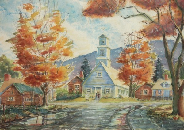 24: John Ditch - Watercolor - Maple Tree Church (1900-2
