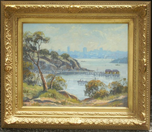 222: Sydney Harbor - Oil by R. Parsons