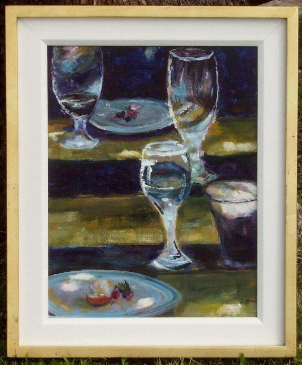 223: Wine Glasses - Oil Still Life (20th C)