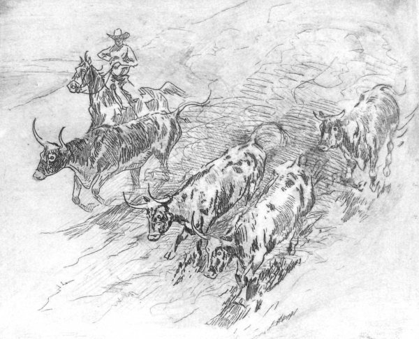 226: Edward Borein - Etching Cattle Drive