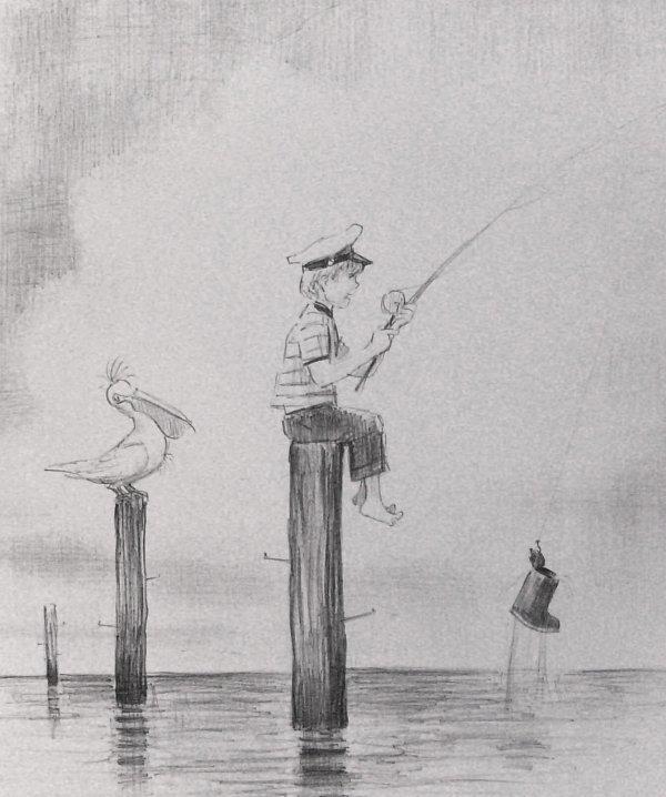 229: Boy Fishing - Don Freeman - Lithograph
