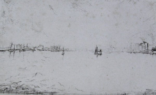 230: River w/ Sailboats - Etching - (Unknown artist)