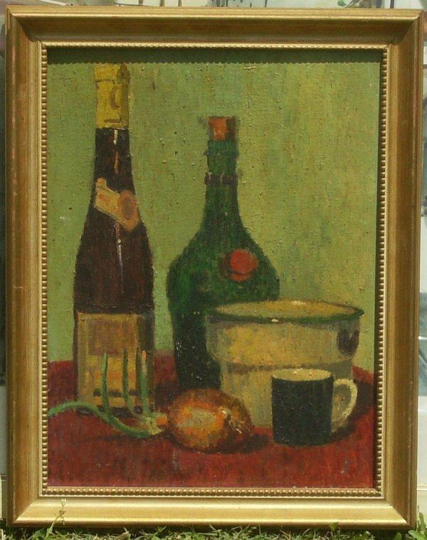 232: Wine Bottles - Oil on canvasboard (unknown)