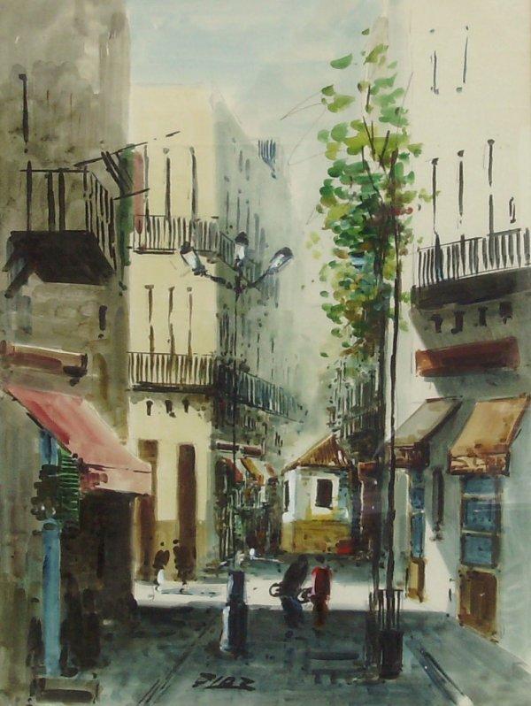 234: Diaz - Watercolor - Street Scene