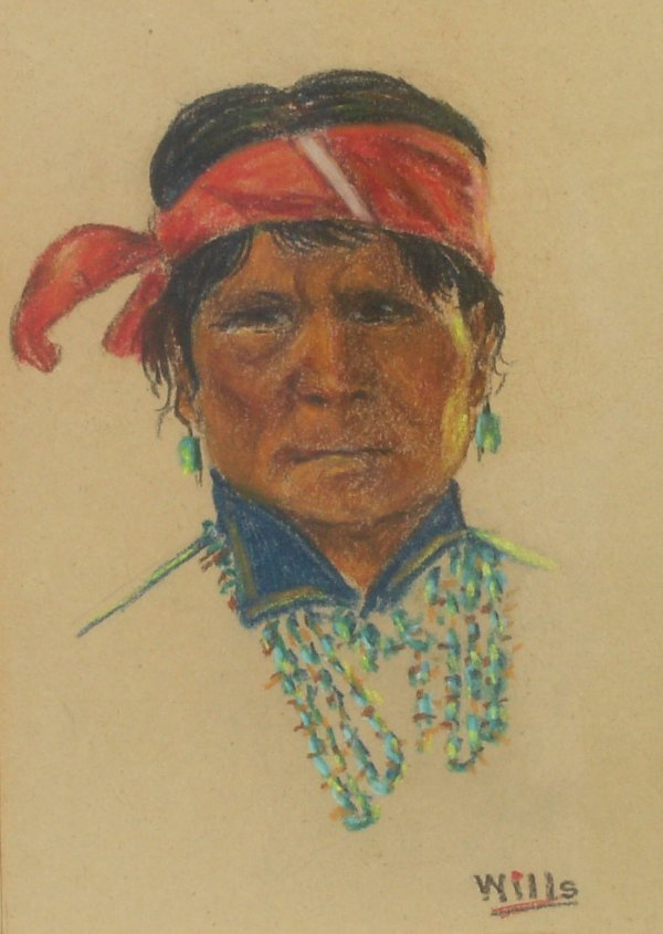 236: Indian Child - Oil by Chester Wills