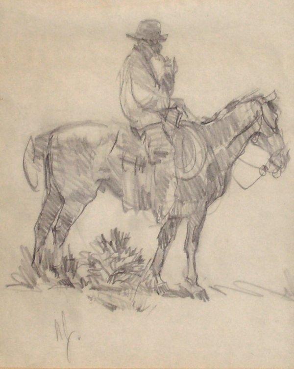 239: Ned Jacob - Cowboy - Pencil (Amer b.1938)
