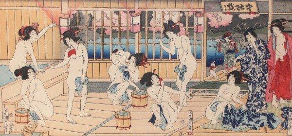 3: Kunisada - Tryptych - Bath House 1823-1880