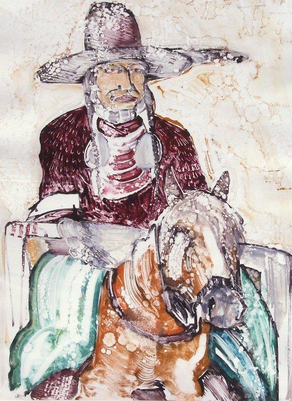 10: Kevin Redstar - Indian on Horseback - Monotype