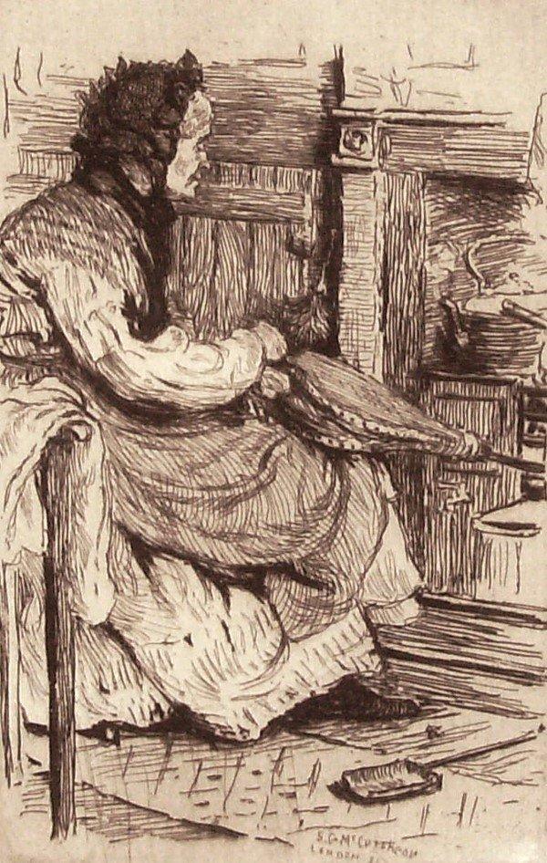 16: SG McCutcheon - Woman By Fireside Etching