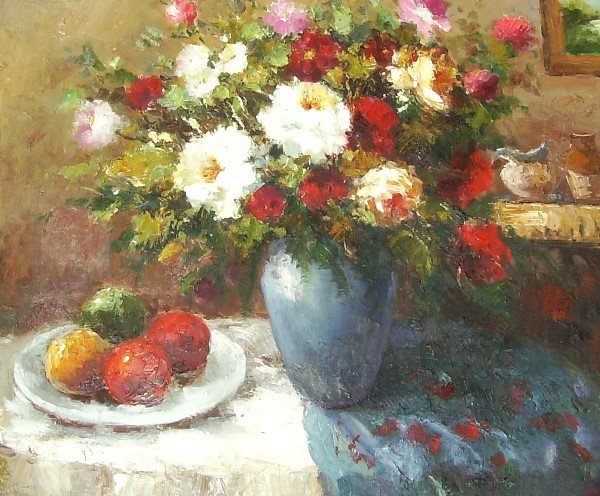 20: Anders - Floral Still Life - Oil (20th C)