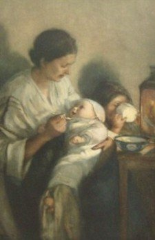 21: Elizabeth Nourse - Mother and Children - Stone Lith