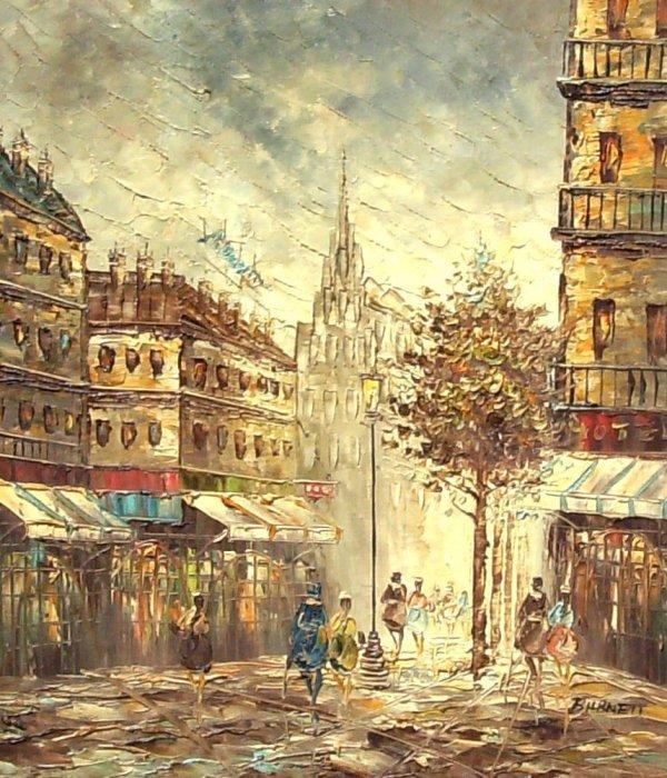 234: Paris Street Scene - Burnett - Oil (20th c)