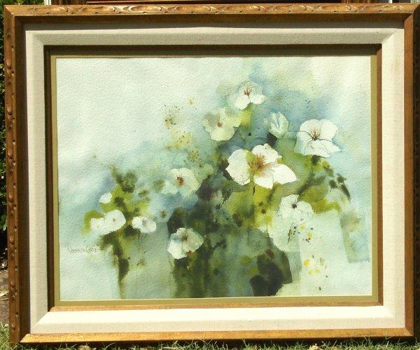236: Virginia Cobb - Flowers Watercolor (20th c)
