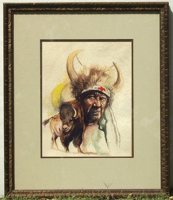 237: William Dunnam - Indian & Buffalo Watercolor