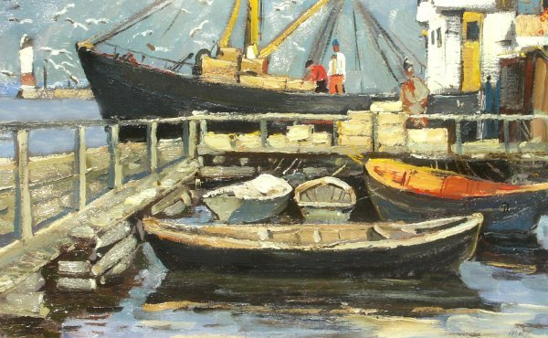 244: Mark Kremer - Fishboats in Harbor - Oil (Russian 1