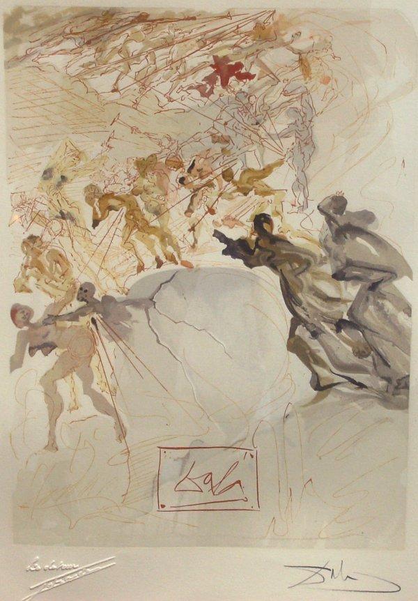 246: Salvador Dali - Purgatory 25 Woodcut  (1904-1989)