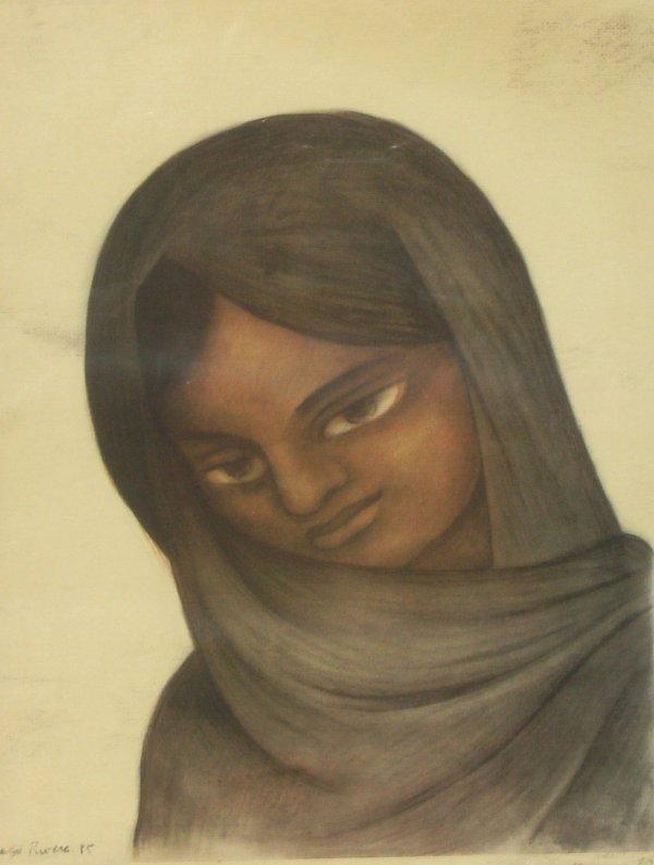 247: Diego Rivera - Young Girl - Rare Lithograph (1886-