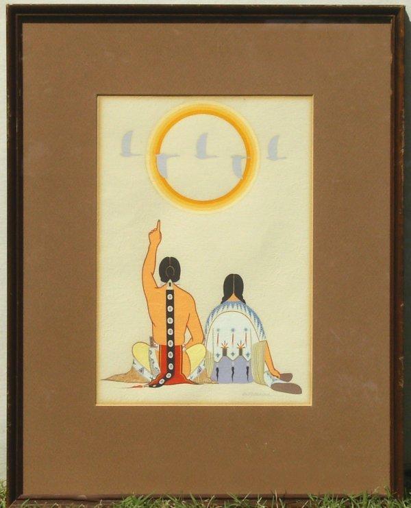 249: Archie Blackowl - Indians Sun Ducks Tempera