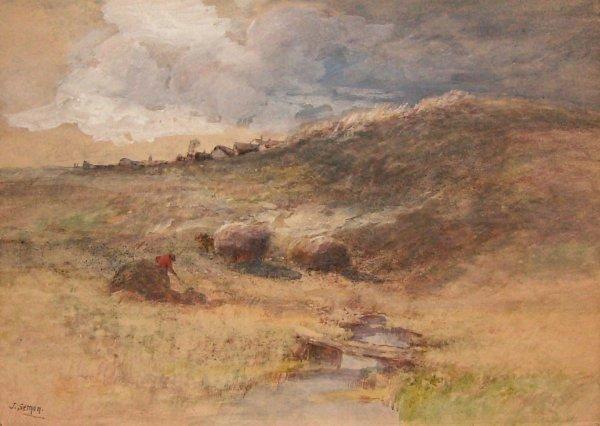 252: Antique Watercolor - Woman Bailing Hay (Semon)