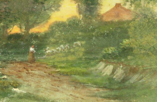 253: J Vaness - Antique Watercolor - Sheep