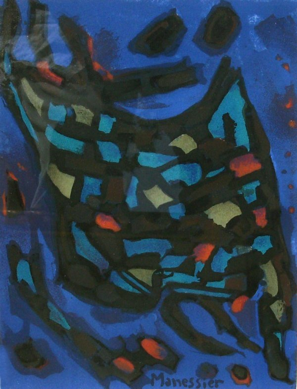288: Alfred Manessier - Watercolor Abstract (1911-1993)