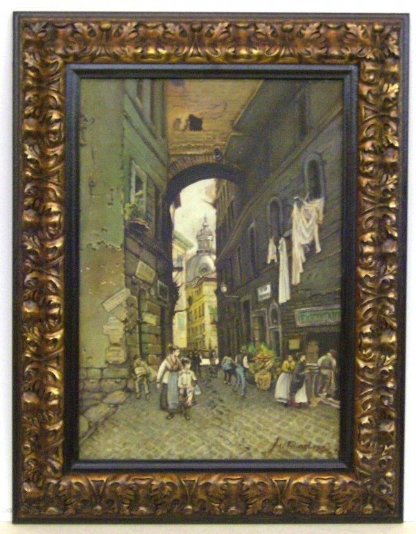 10: A Riad - Italian Street Scene - Oil