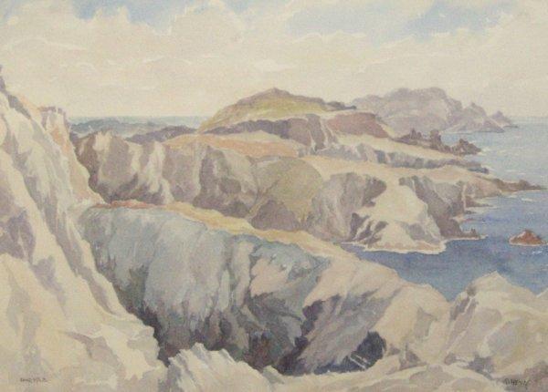 18: T Train - Rocky Coastline - Watercolor