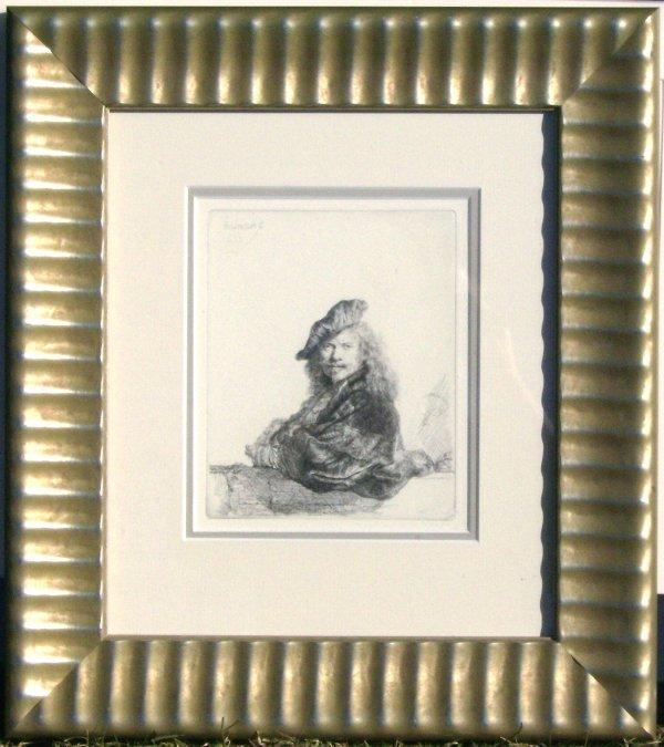 22: Rembrandt - Leaning on Stone Wall - Engraving