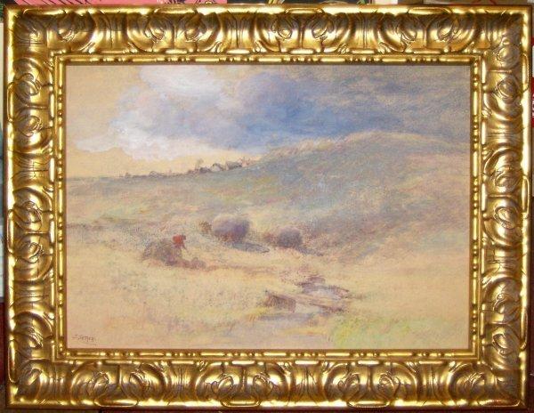 23: John Semon - Haystacks - Pastel (1852-1917)