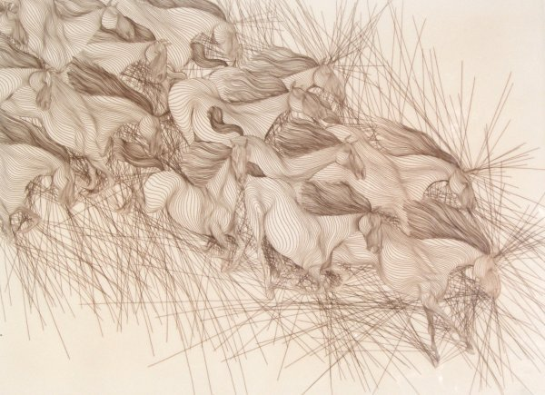24: Guillaume Azoulay - Horses - Etching, signed