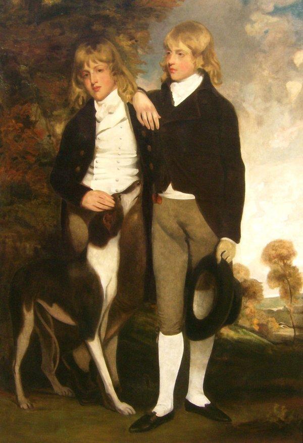 152: John Hoppner - John & Henry Cust  Oil  (1758-1810)
