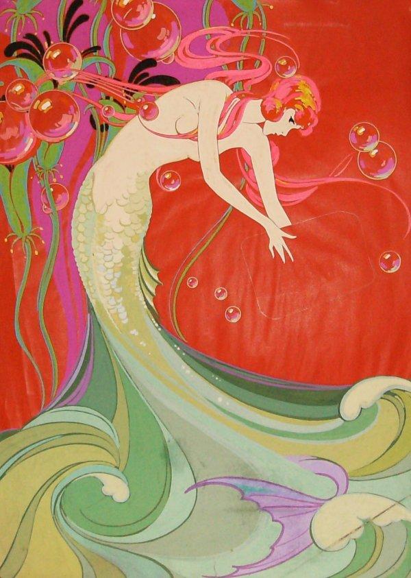 224: Mermaid - Art Deco Tempera
